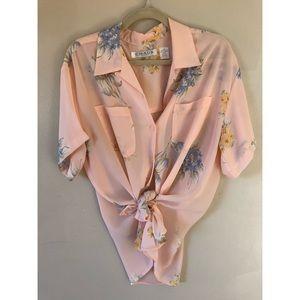 Vintage Peach Floral Button Down Blouse